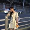 乌77甜美拼接木耳边衬衫裙修身显瘦宫廷风翻领衬衣裙中长款连衣裙