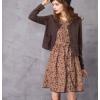 阿卡2020秋季新款套装两件套复古长袖针织开衫中长款碎花连衣裙女