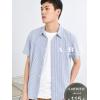 夏季竹纤维蓝色条纹短袖衬衫男薄款日系宽松休闲男士夏装港风衬衣
