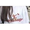 WASSUP圆领T恤海报女郎夏季白黄色短袖潮宽松休闲男女生情侣服装