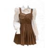 大码胖妹妹学院风POLO领泡泡袖衬衣+百褶单排扣背带连衣裙女套装